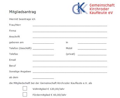 GKK-Mitgliedsantrag